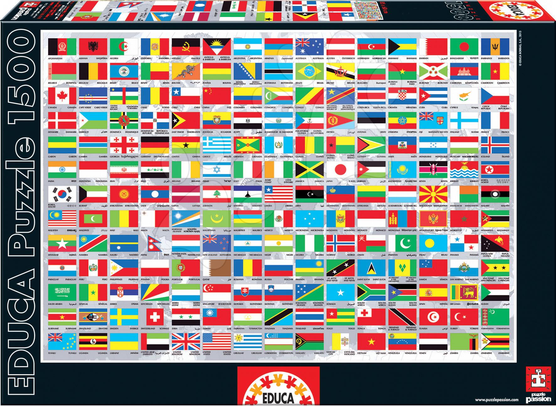 Puzzle Vlajky sveta Educa 1500 dielov