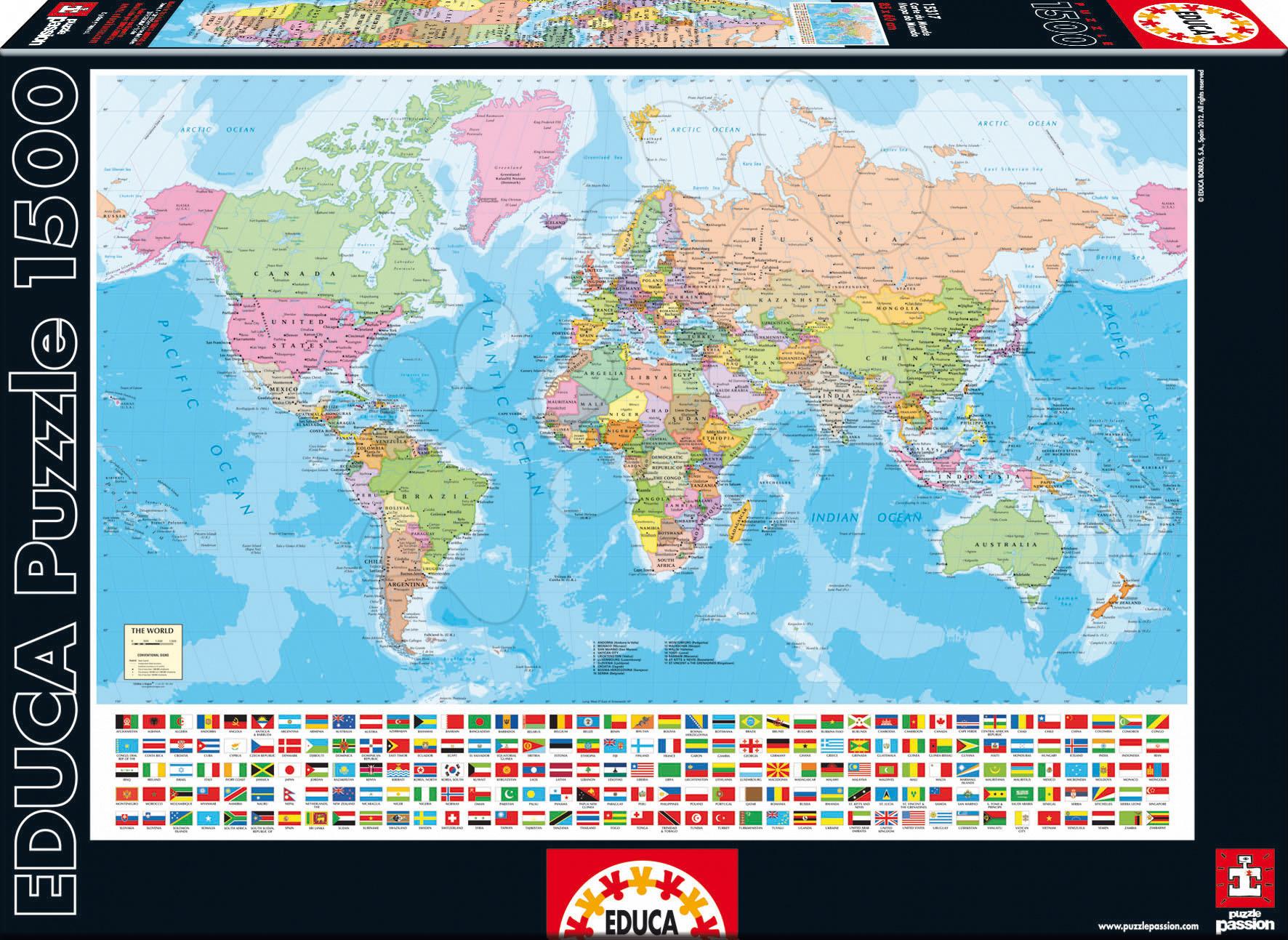 Puzzle World Map Educa 1500 dielov