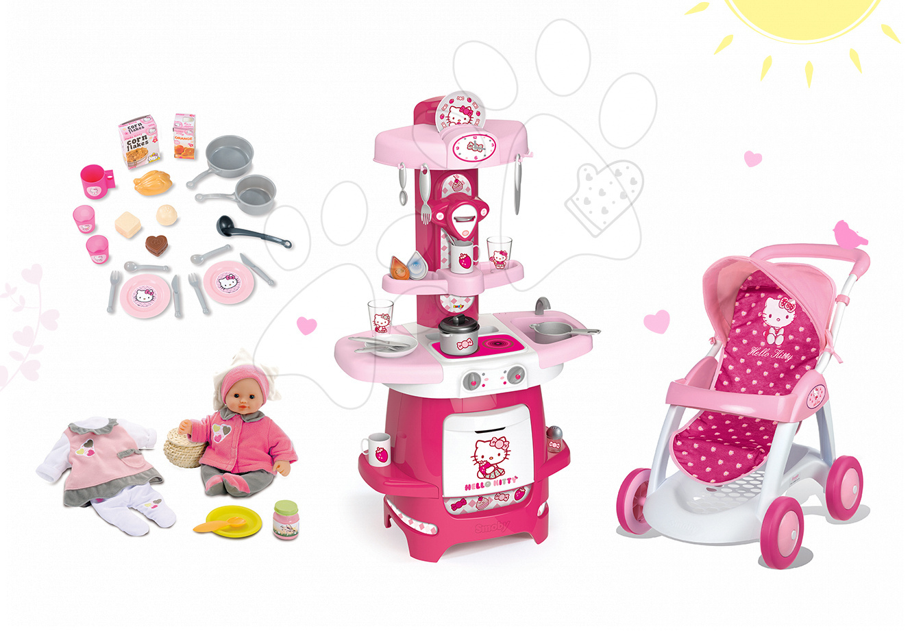 Set kuchyňka Máša a medvěd Smoby s kávovarem, sportovní kočárek pro panenku (55 cm ručka) a panenka se šatičkami