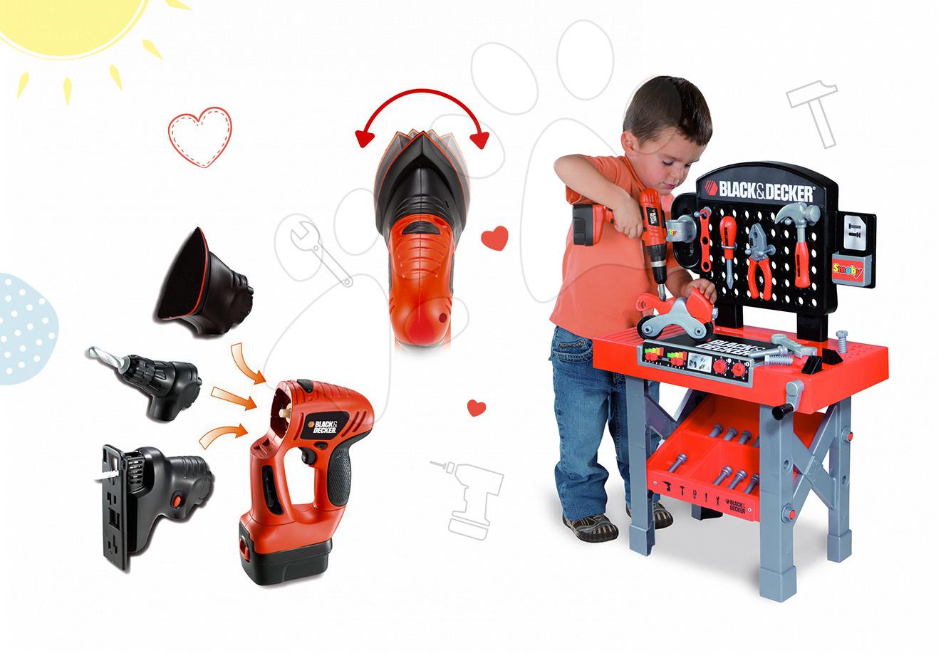 Smoby pracovná dielňa pre deti Black&Decker a elektronický nástroj Quatro set 500205-2