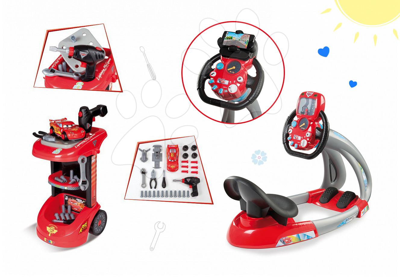 Set dětský pracovní vozík Auta Smoby s mechanickou vrtačkou a elektronický trenažér V8 Driver