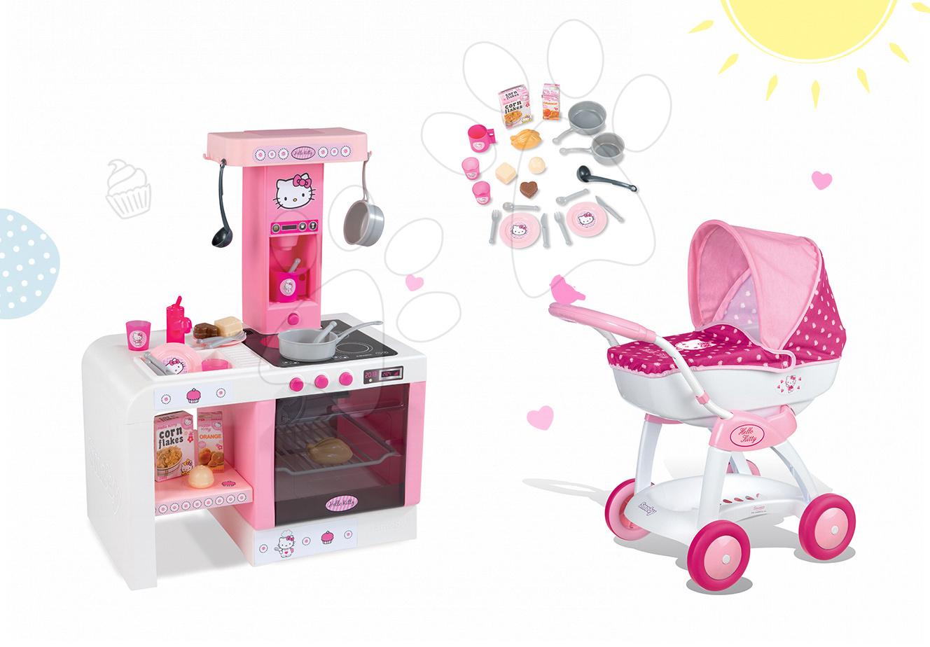 Set dětský kočárek pro panenku Hello Kitty Smoby a kuchyňka Hello Kitty Cheftronic se zvuky od 18 měsíců
