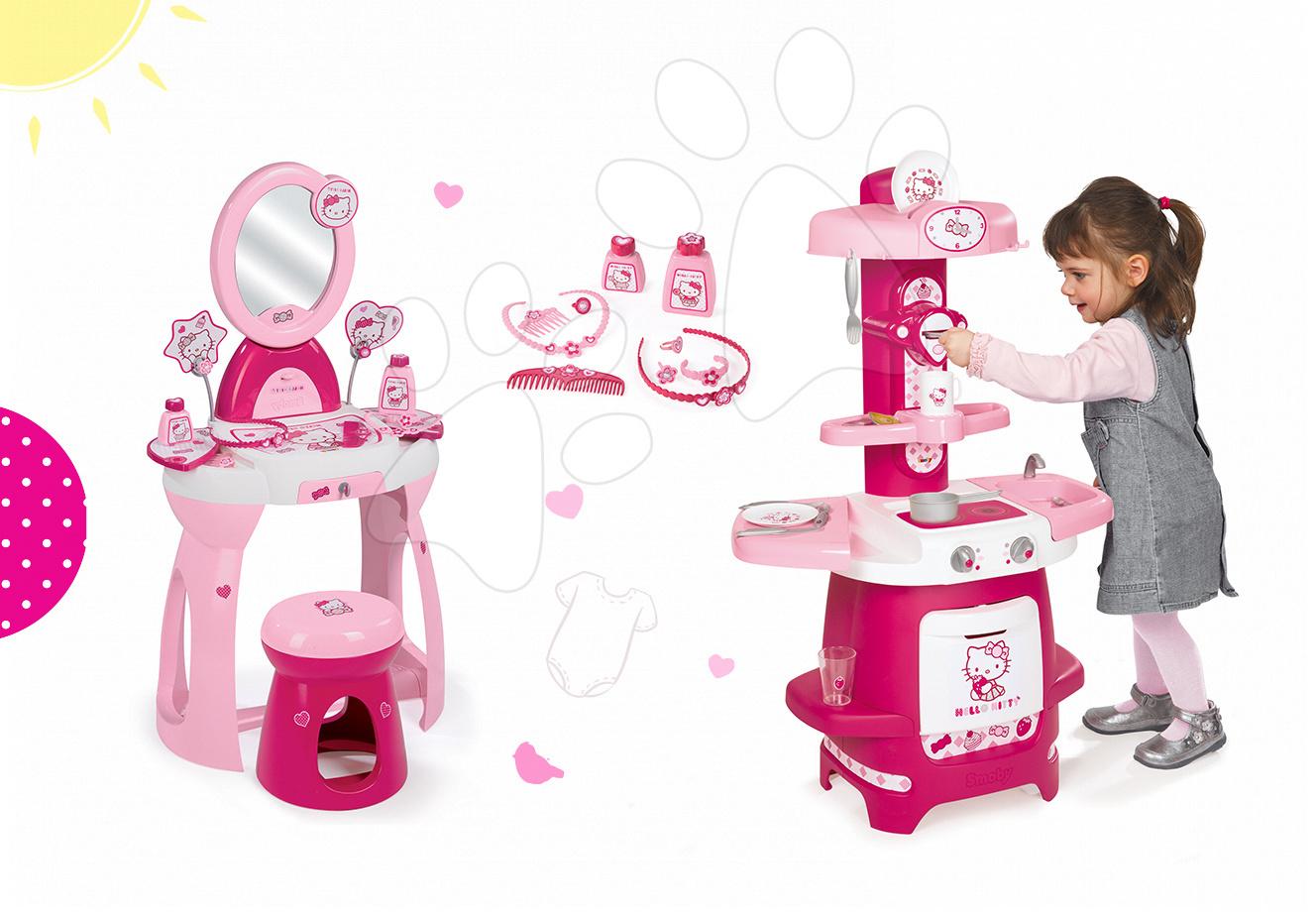 Staré položky - Set kuchynka Máša a medveď Smoby s kávovarom a kozmetický stolík so stoličkou