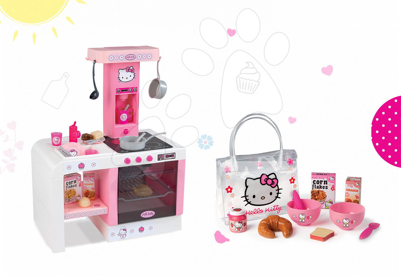 Komplet kuhinja Hello Kitty Cheftronic Smoby z zvoki in komplet za zajtrk v torbici