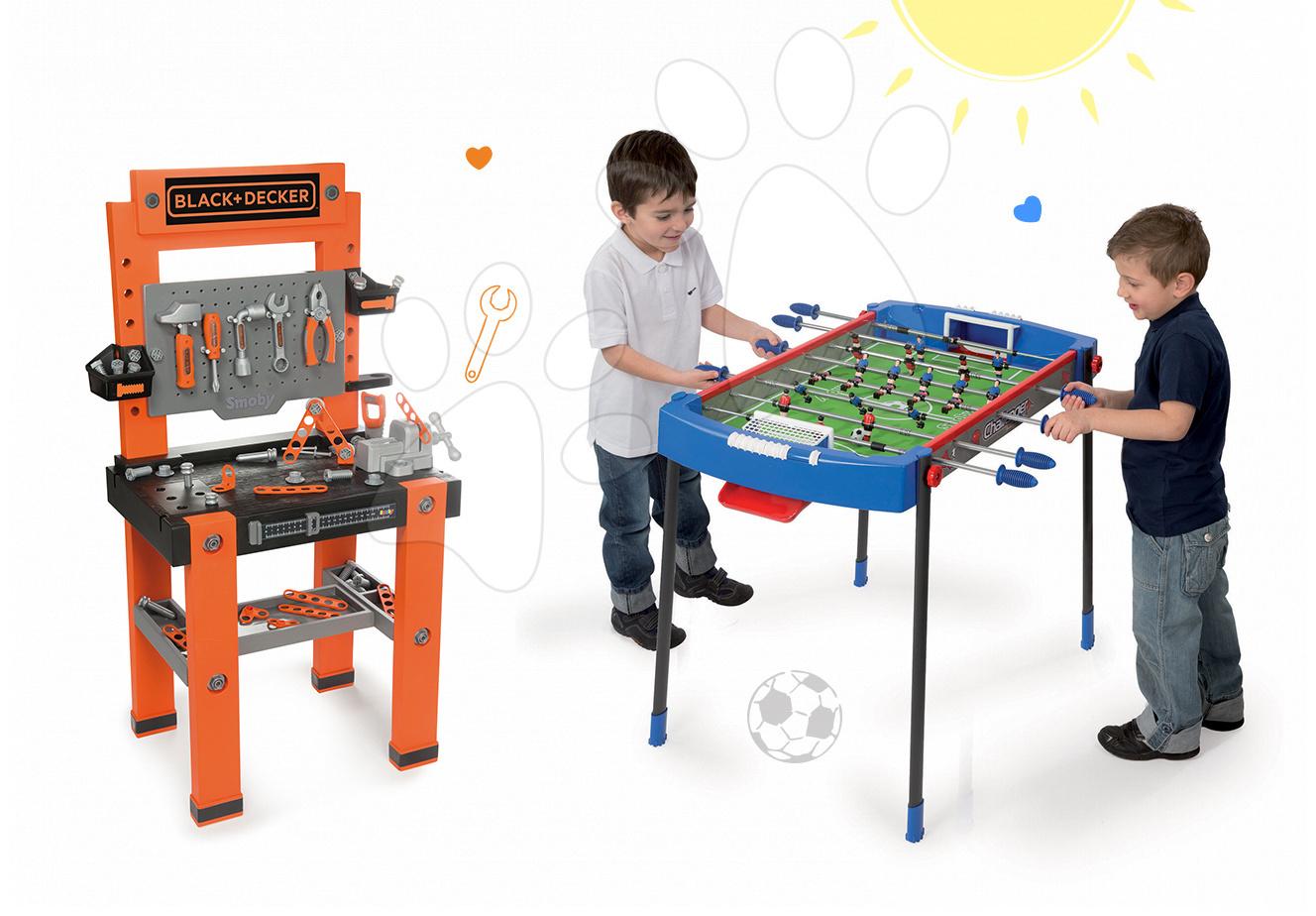 Set dílna Black+Decker Smoby a fotbalový stůl Challenger s 2 míčky