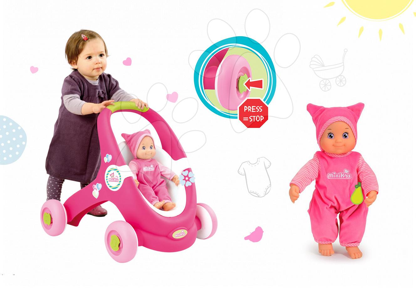 Set chodítko a kočárek pro panenku 2v1 MiniKiss Smoby a panenka se zvukem MiniKiss v čepičce od 12 měsíců