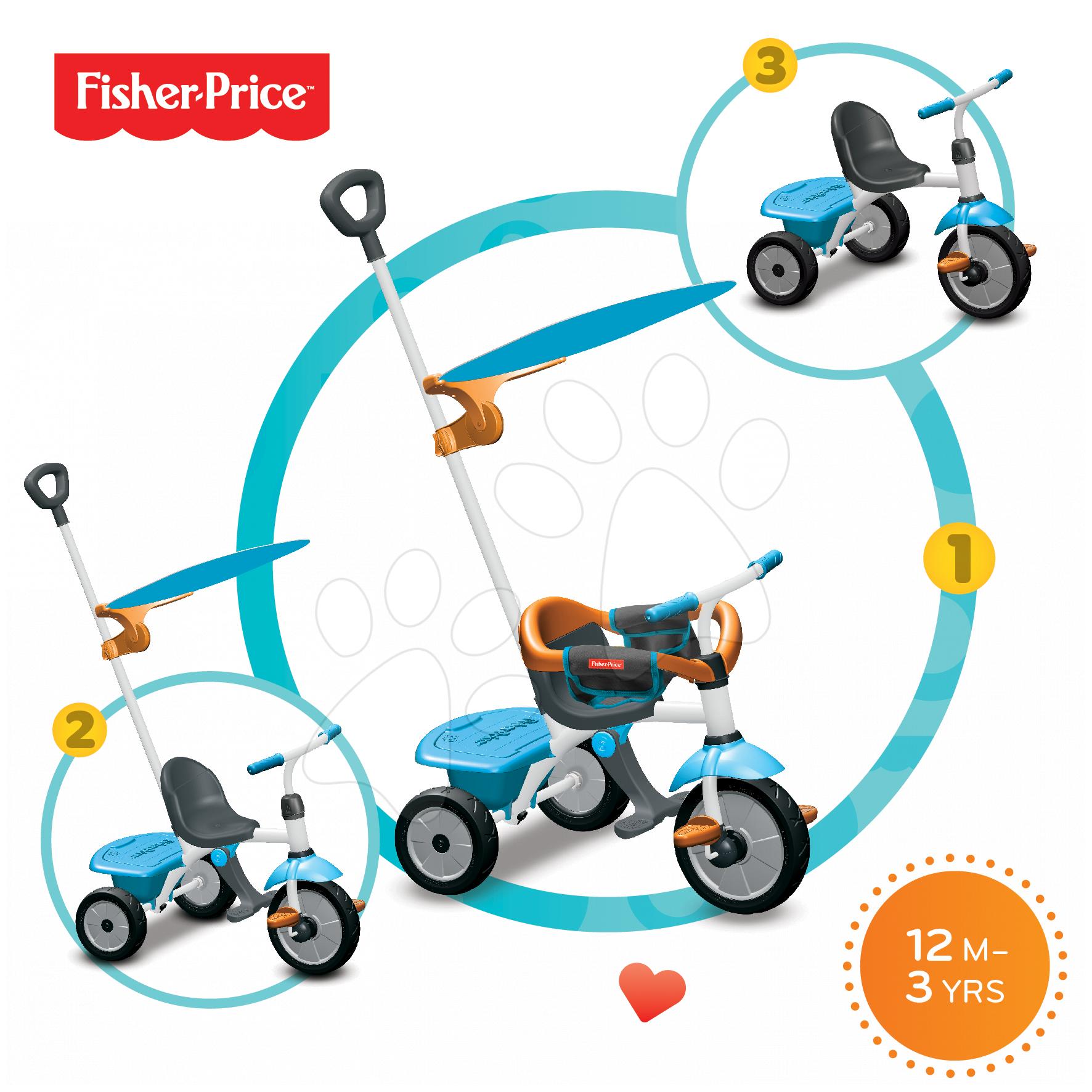 Trojkolky od 10 mesiacov - Trojkolka Fisher-Price Jolly Plus smarTrike modro-oranžová od 12 mes