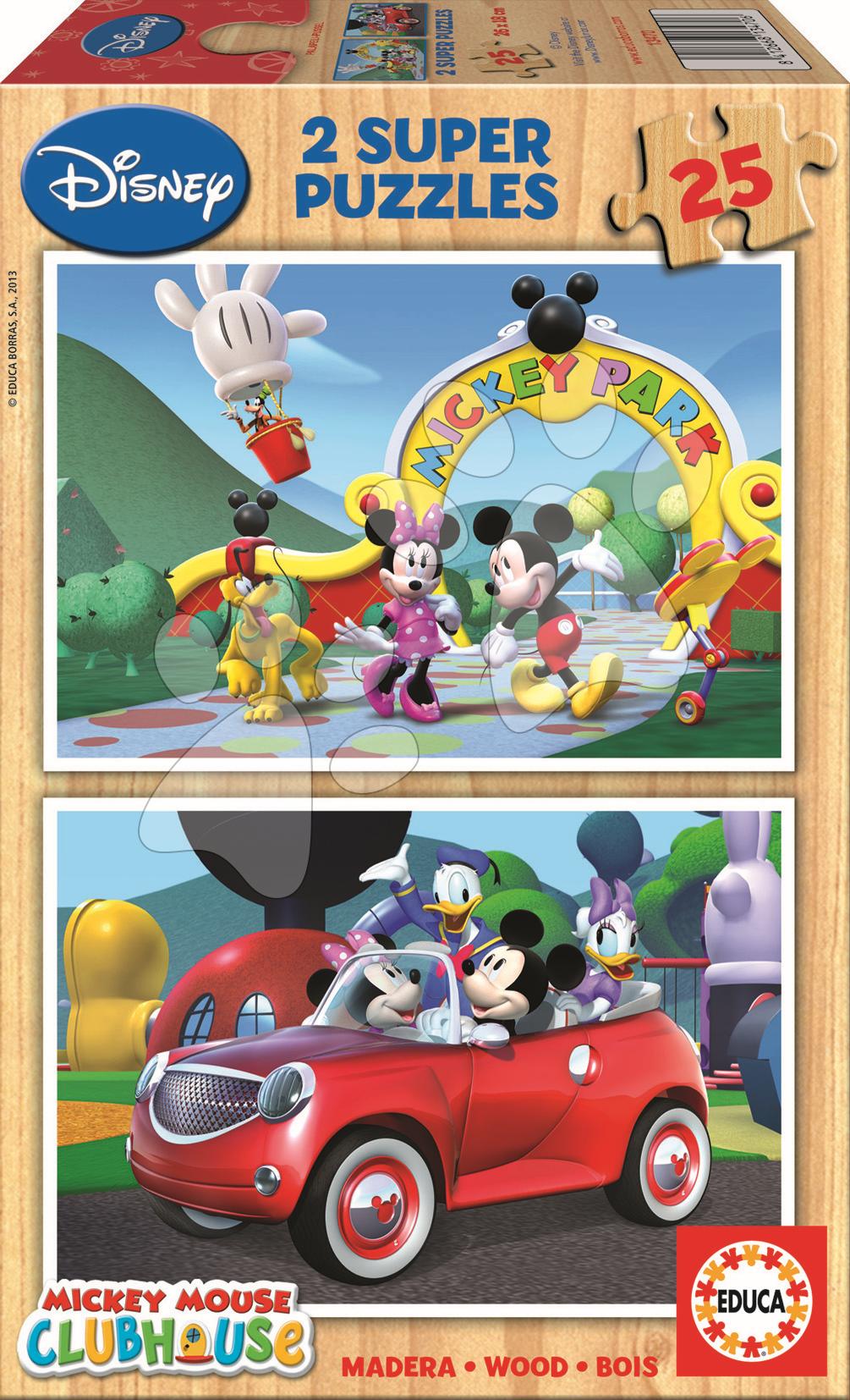 Drevené puzzle Mickey Mouse Educa 2x 25 dielov