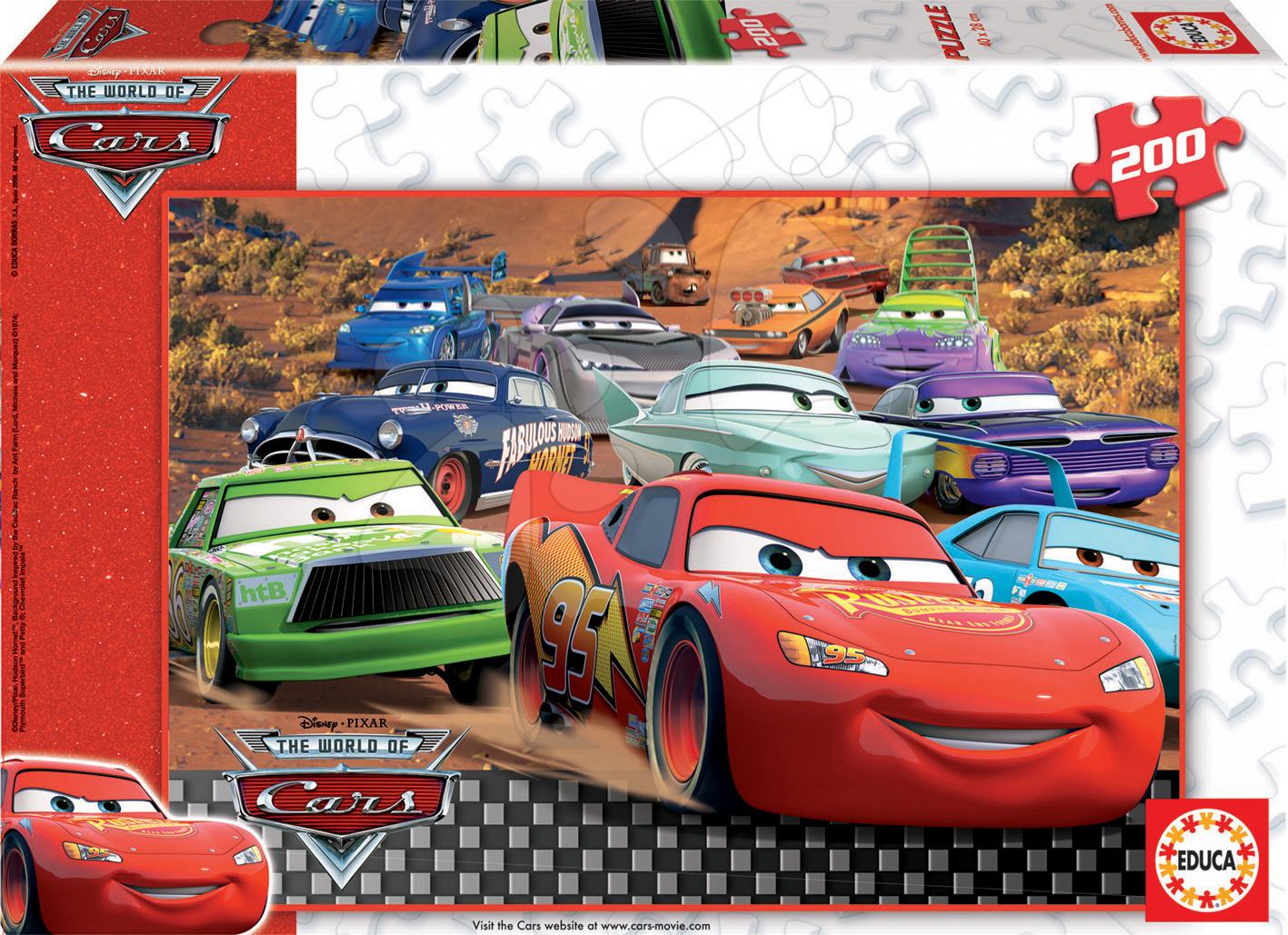 Dětské puzzle od 100–300 dílků - Puzzle Disney Auta Educa 200 dílů od 6 let