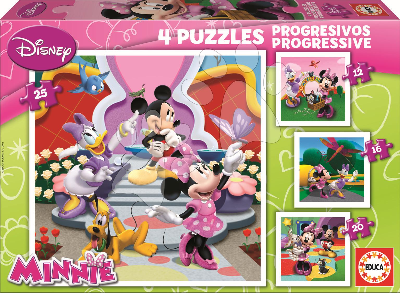 Puzzle Minnie Educa 25-20-16-12 dílů od 24 měsíců
