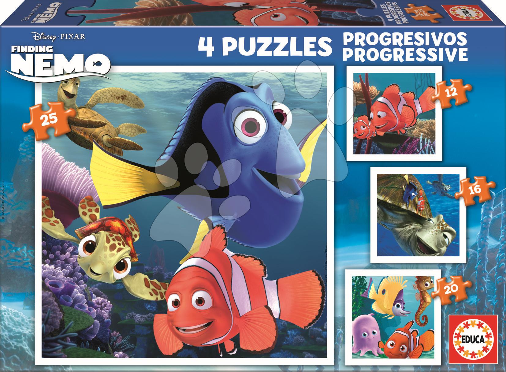 Progresívne detské puzzle - Puzzle Hľadá sa Nemo Educa 25-20-16-12 dielov od 24 mes