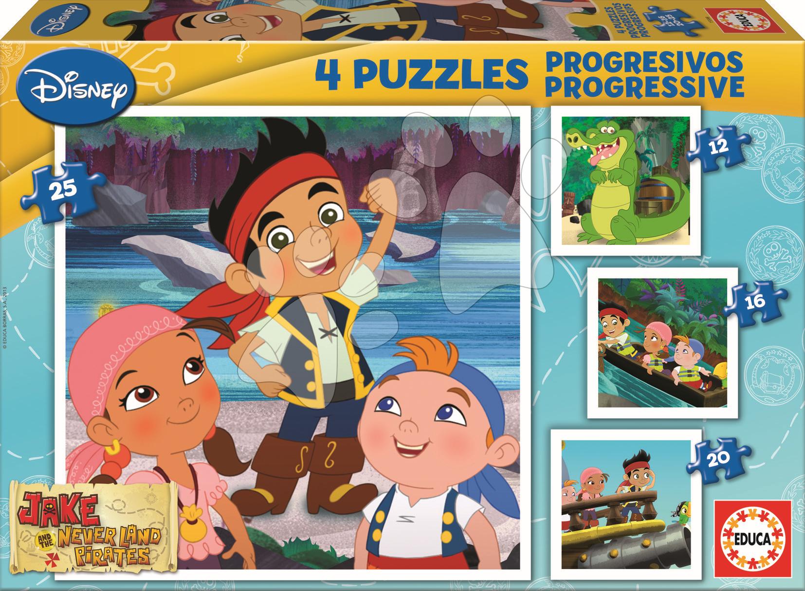 Progresívne detské puzzle - Puzzle Jake a Pritári z Krajiny nekrajiny Educa 25-20-16-12 dielov od 24 mes