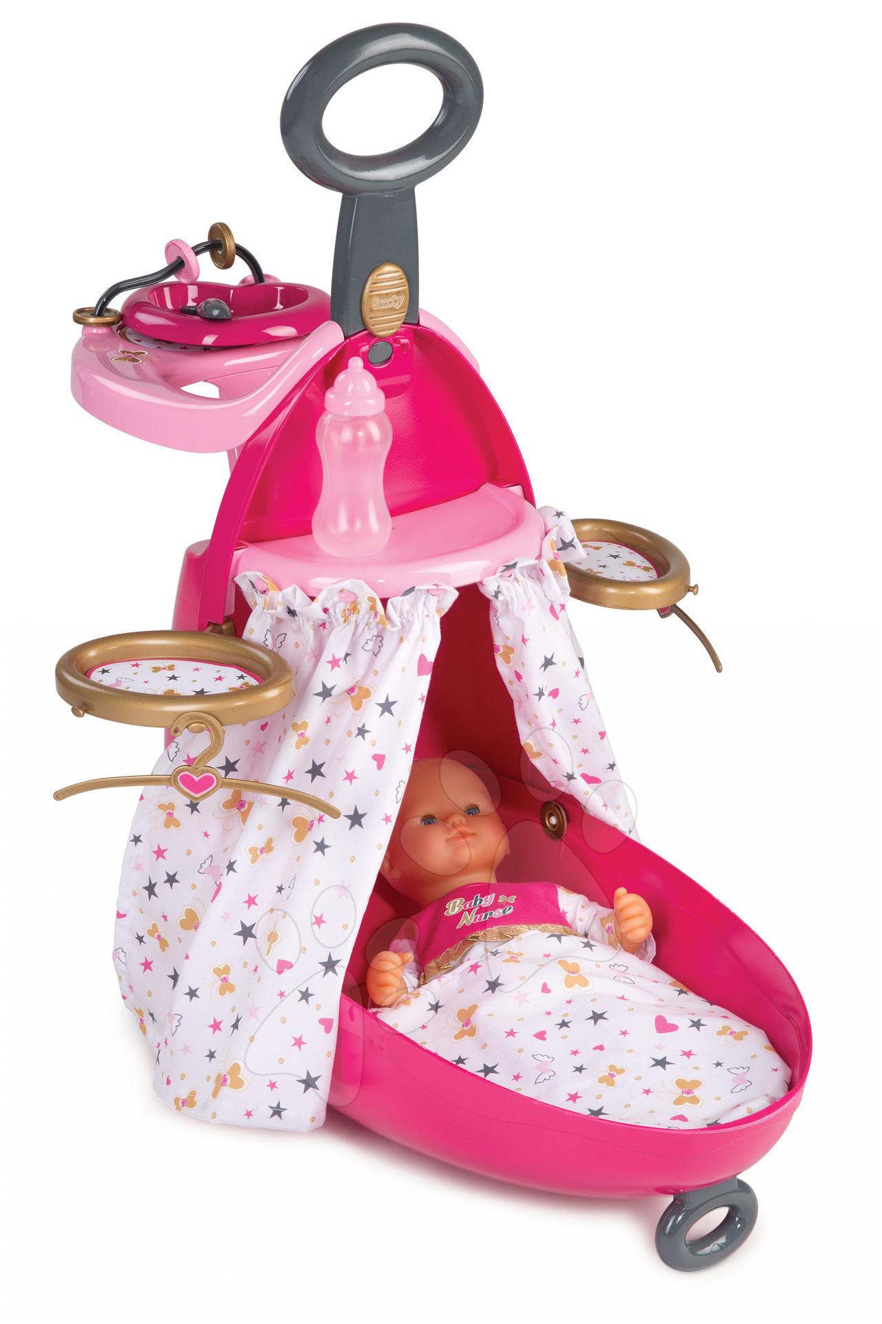 Pelenkázó kocsi és kiságy játékbabának Baby Nurse Smoby bd6224d34b