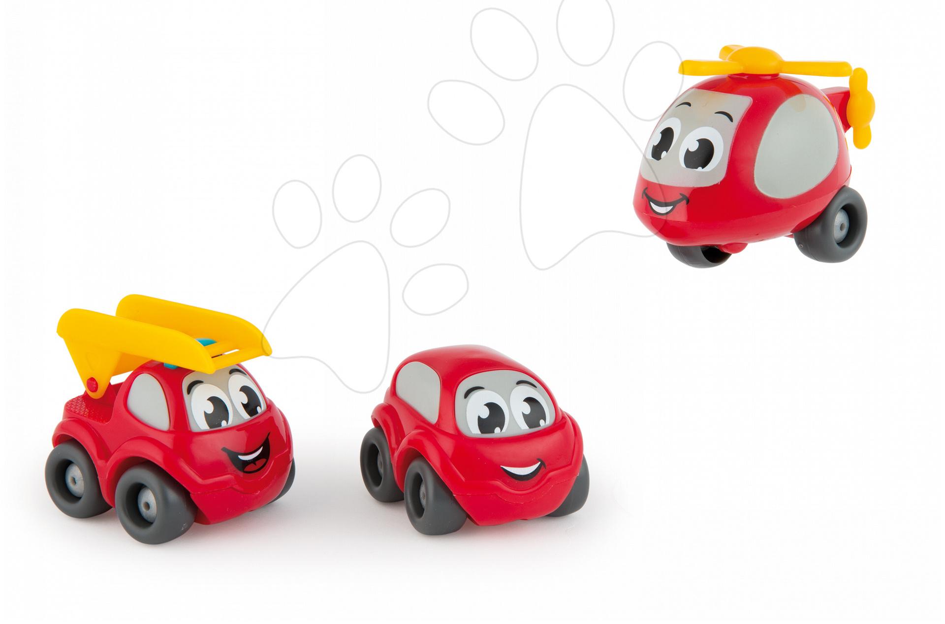 Hasičské autíčka pro děti Vroom Planet Smoby 3 ks délka 7 cm od 12 měsíců