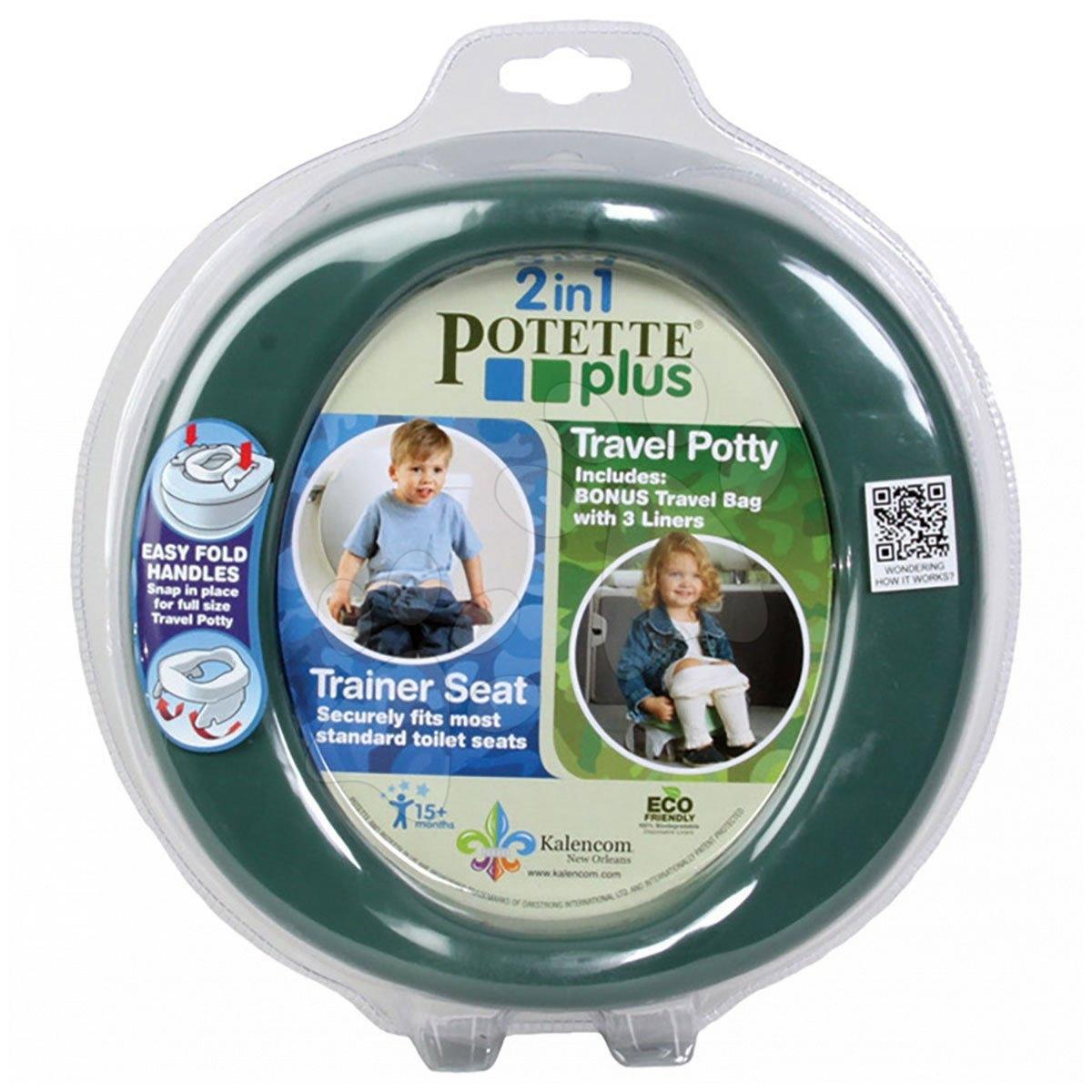 Cestovní nočník/redukce na WC Potette Plus zeleno-hnědý od 15 měsíců
