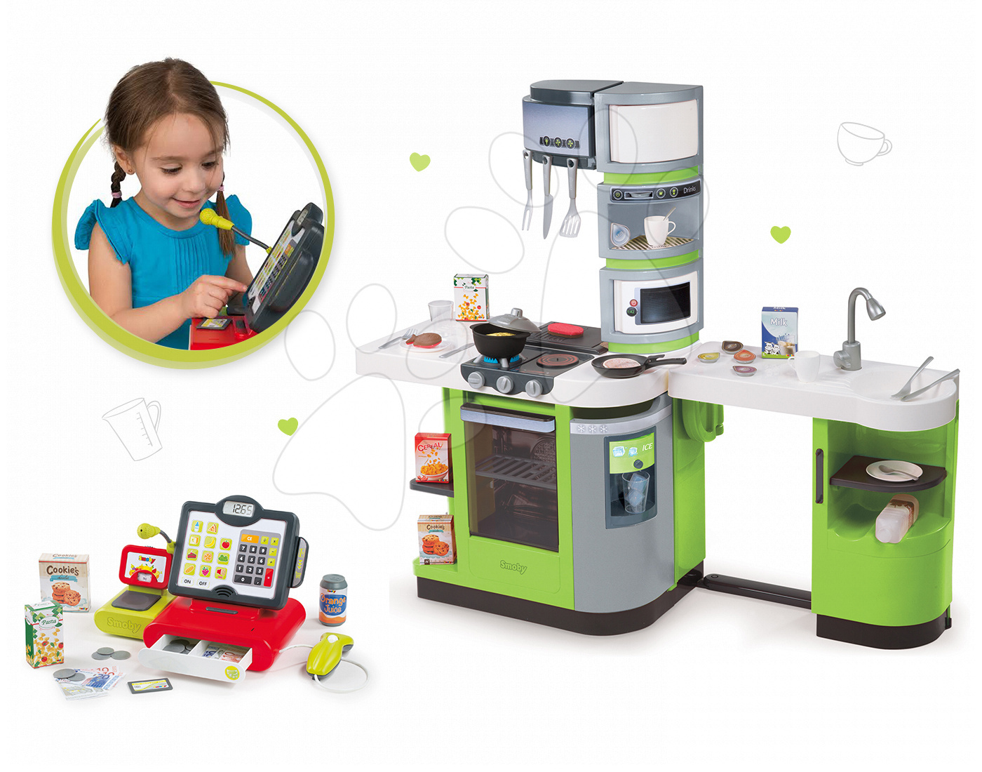 Kuchynky pre deti sety - Set kuchynka CookMaster Verte Smoby s ľadom a zvukmi a dotyková elektronická pokladňa s funkciami