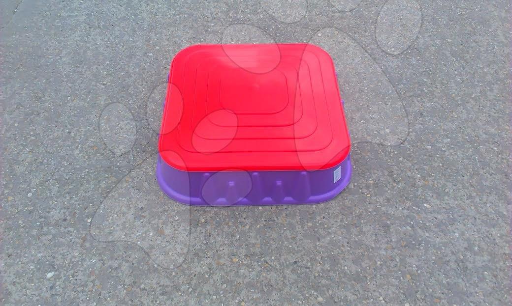 Pieskoviská pre deti - Pieskovisko Starplast štvorcové s krytom objem 60 litrov fialovo-červené od 24 mes