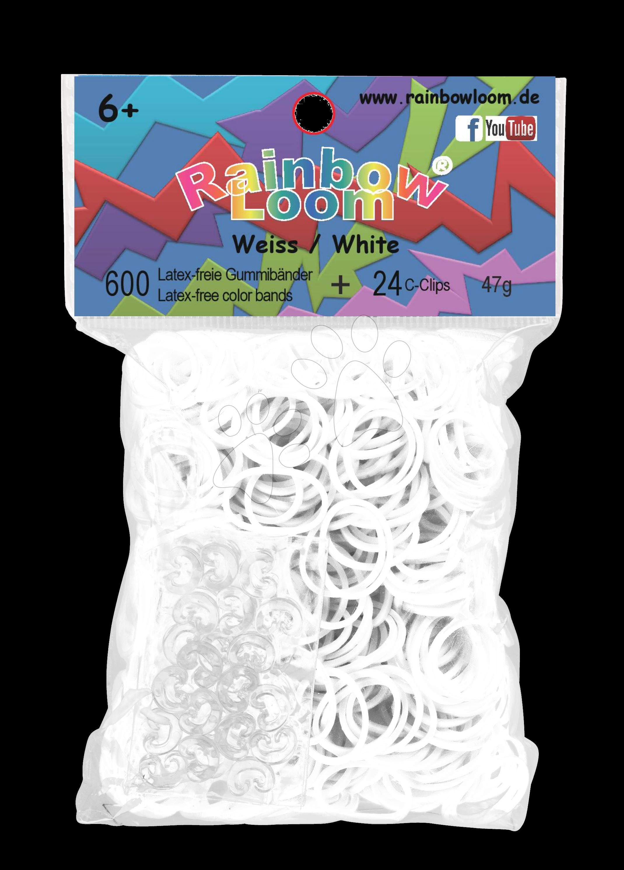 Rainbow Loom originální gumičky 600 kusů bílé