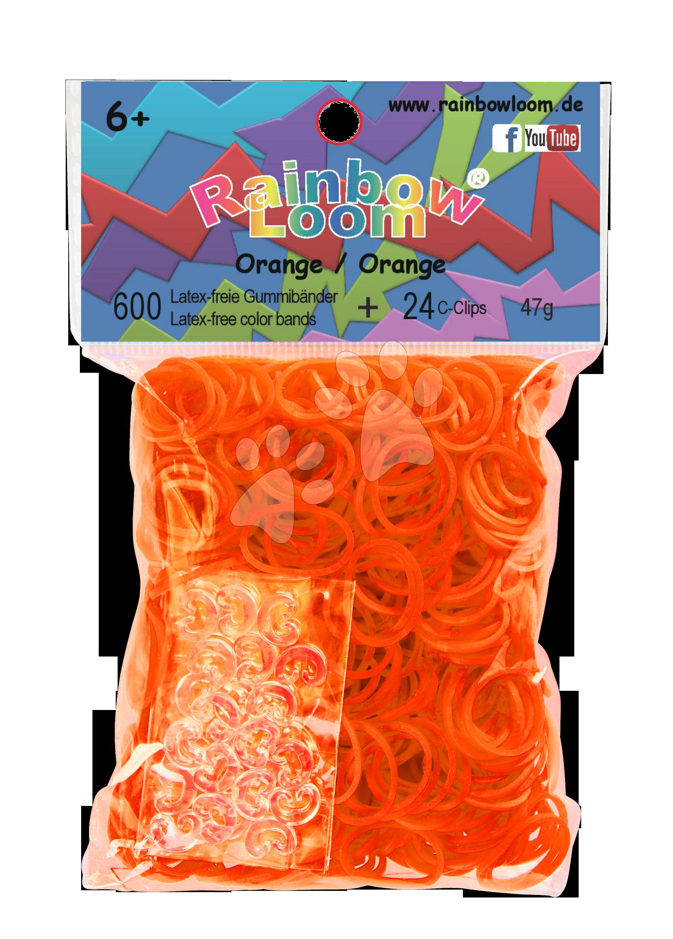Rainbow Loom gumičky plné - Rainbow Loom originálne gumičky 600 kusov oranžové od 6 rokov