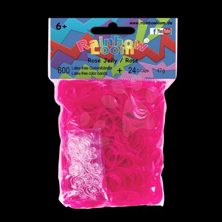 Rainbow Loom gumičky priesvitné - Rainbow Loom originálne transparentné gumičky 600 kusov ružové od 6 rokov