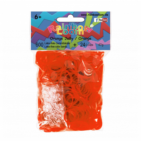 Rainbow Loom gumičky priesvitné - Rainbow Loom originálne transparentné gumičky 600 kusov oranžové od 6 rokov