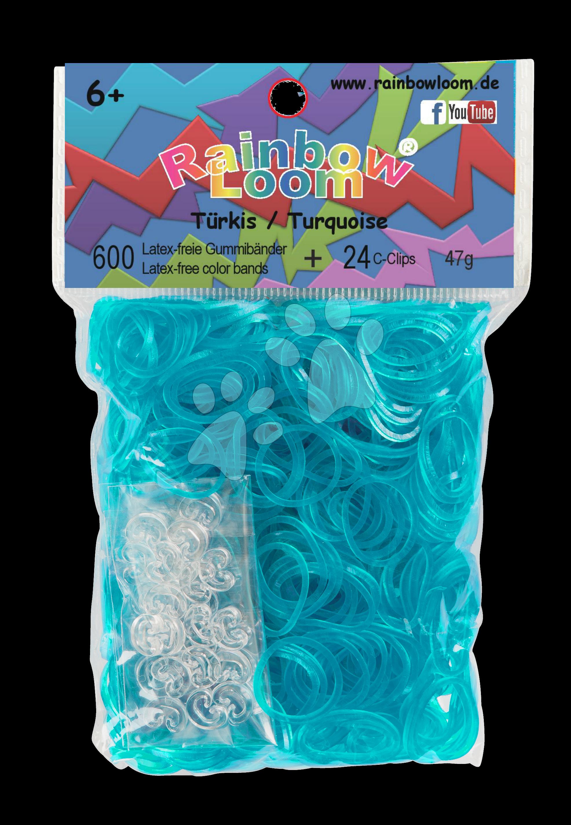 Rainbow Loom originální transparentní gumičky 600 kusů tyrkysové od 6 let