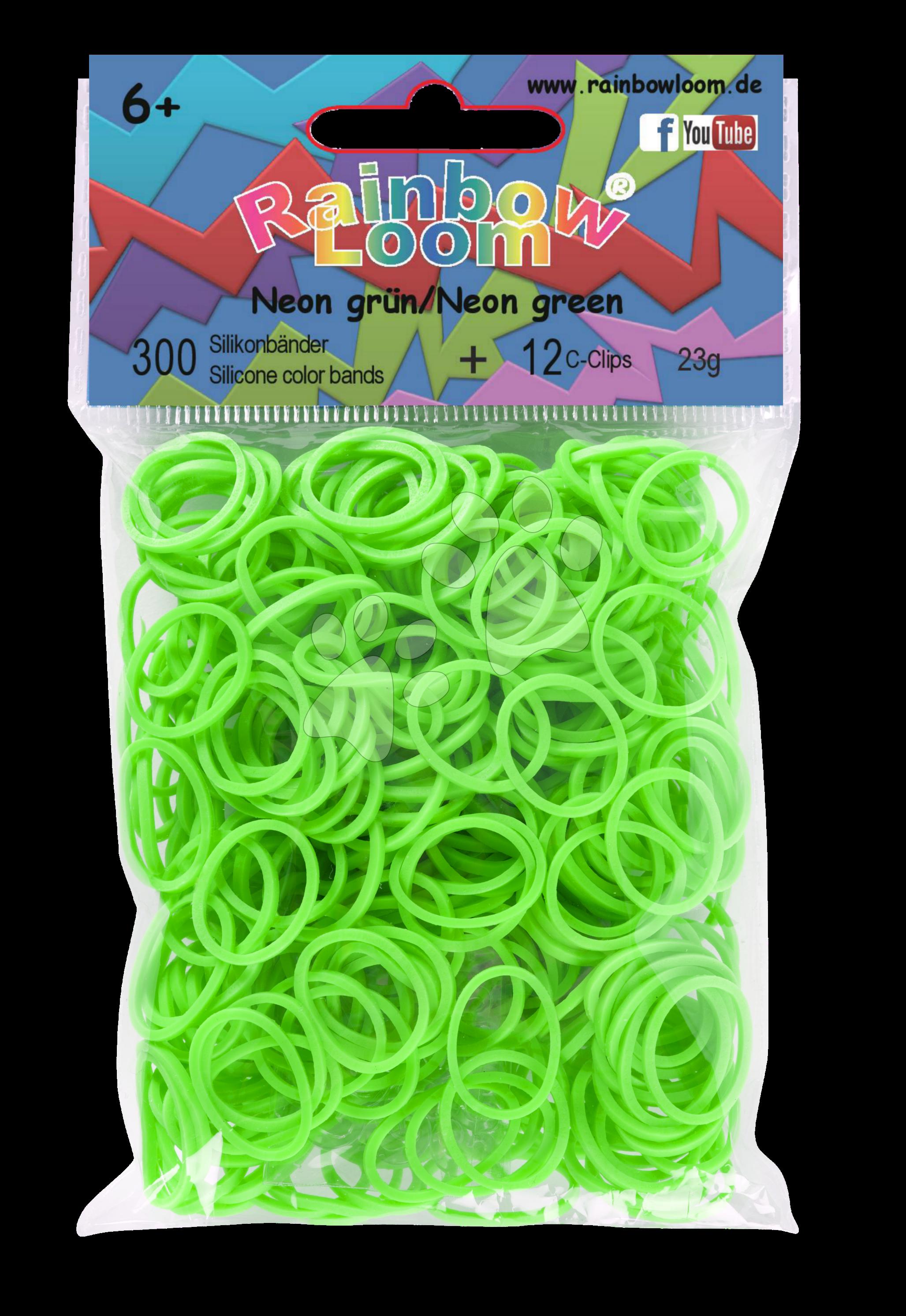 Rainbow Loom gumičky neonové - Rainbow Loom originálne gumičky 300 kusov neónovozelené od 6 rokov