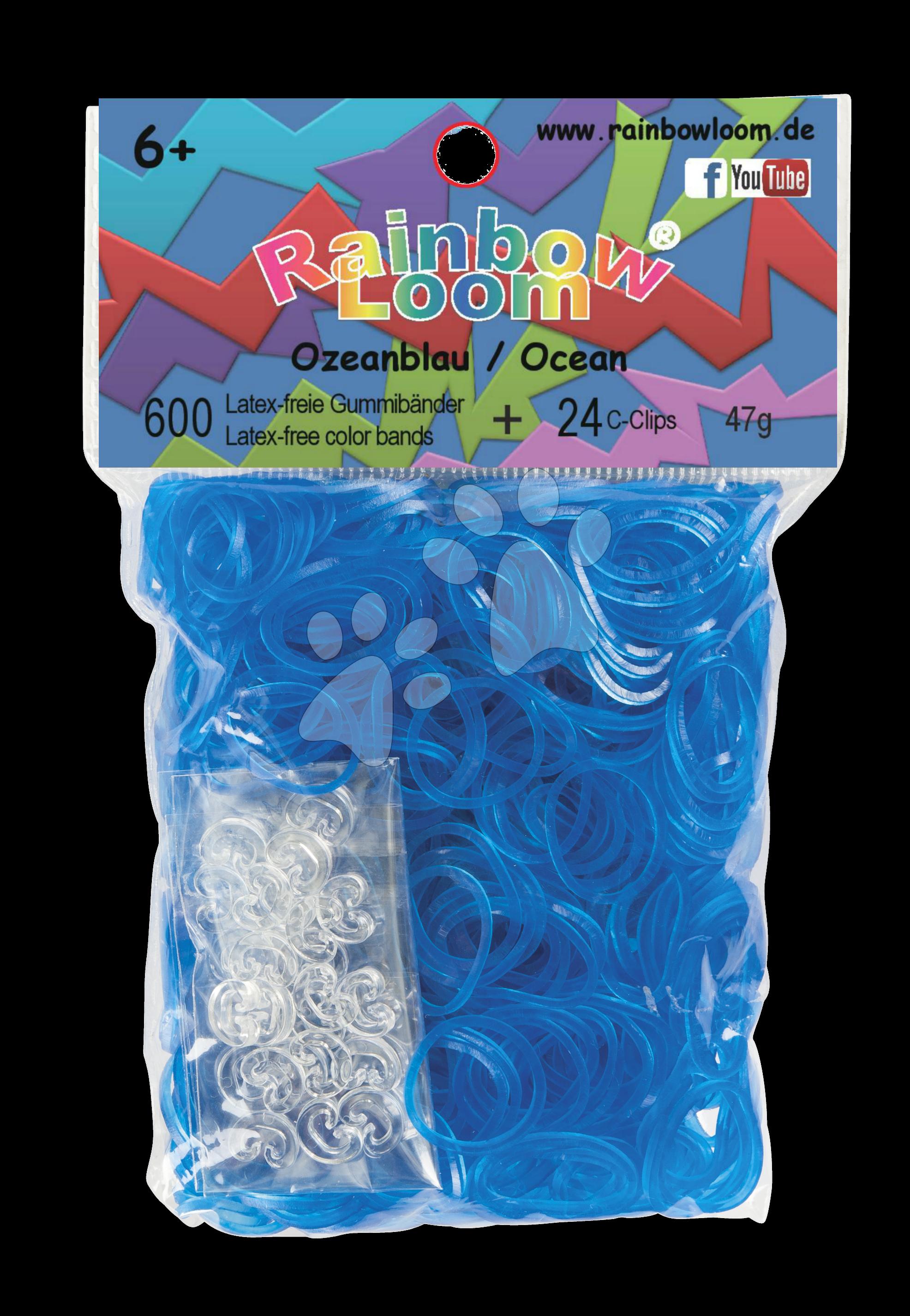 Rainbow Loom gumičky priesvitné - Rainbow Loom originálne transparentné gumičky 600 kusov svetlomodré od 6 rokov