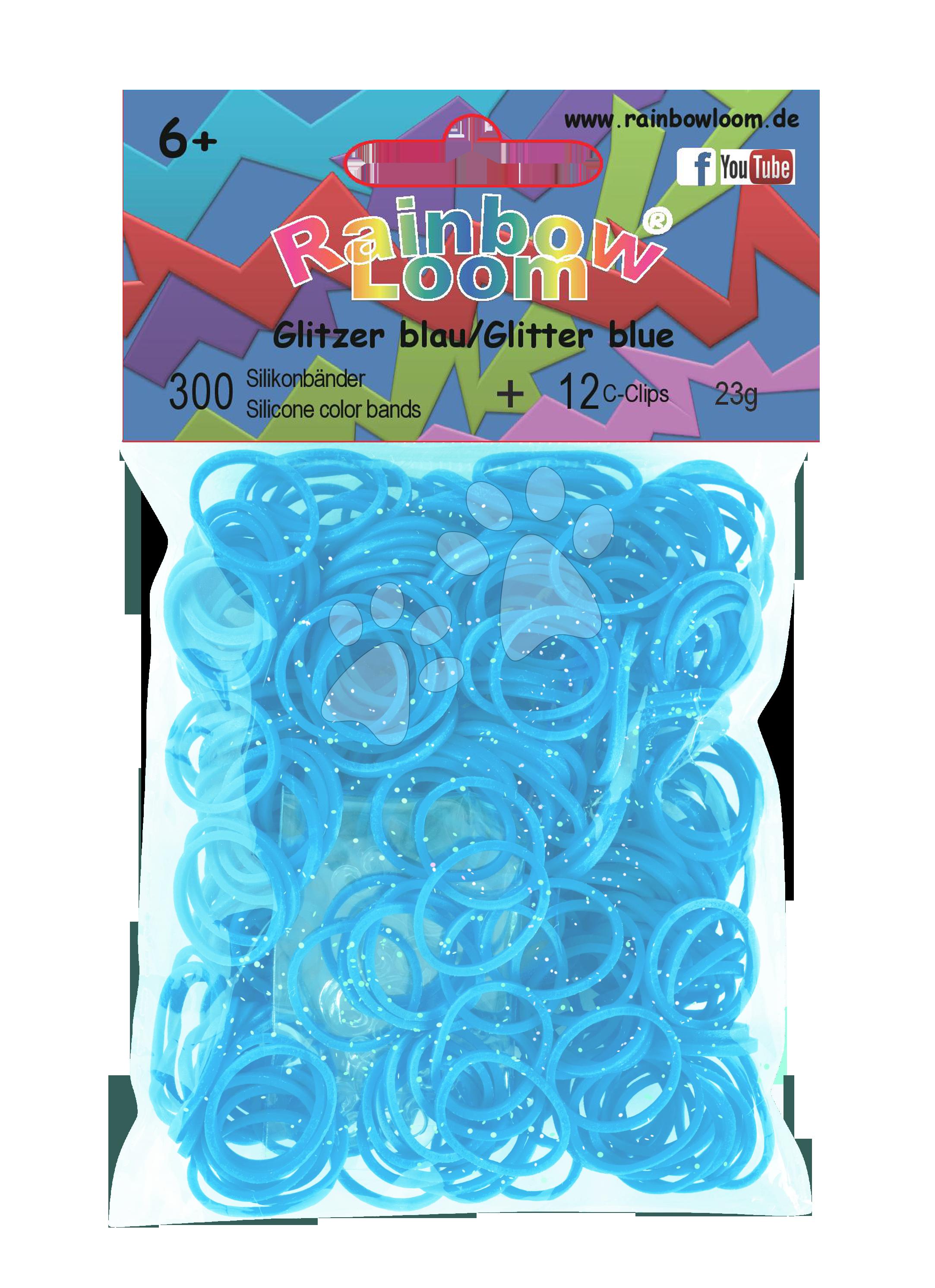 Rainbow Loom gumičky trblietavé - Rainbow Loom originálne trblietavé gumičky 300 kusov tyrkysové od 6 rokov