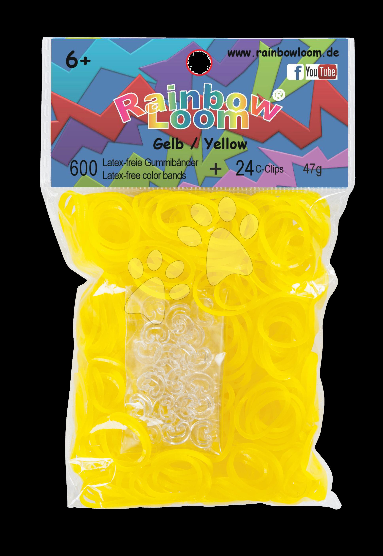Rainbow Loom gumičky priesvitné - Rainbow Loom originálne transparentné gumičky 600 kusov žlté od 6 rokov