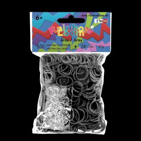 Rainbow Loom gumičky plné - Rainbow Loom originálne gumičky 600 kusov šedé od 6 rokov