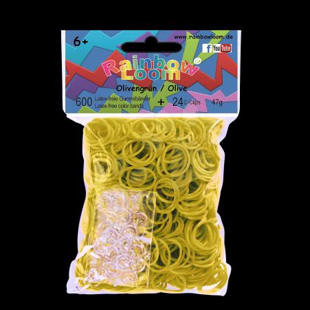 Rainbow Loom gumičky plné - Rainbow Loom originálne gumičky 600 kusov olivovozelené od 6 rokov