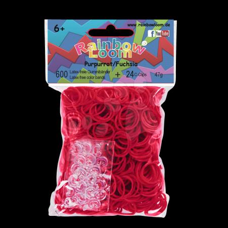 Rainbow Loom gumičky plné - Rainbow Loom originálne gumičky 600 kusov fuchsiové od 6 rokov