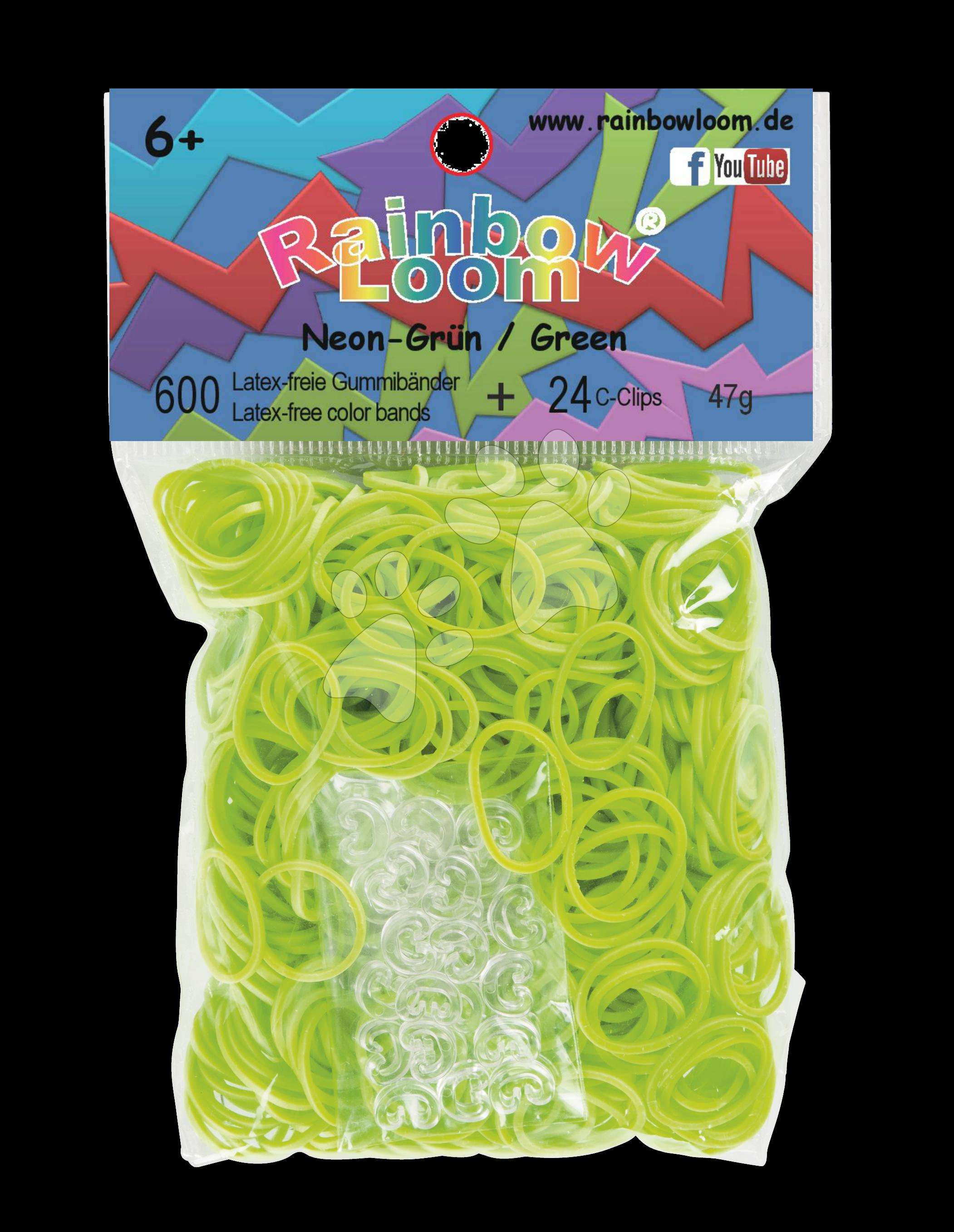 Rainbow Loom gumičky plné - Originálne neónové gumičky Rainbow Loom 600 kusov svetlozelené