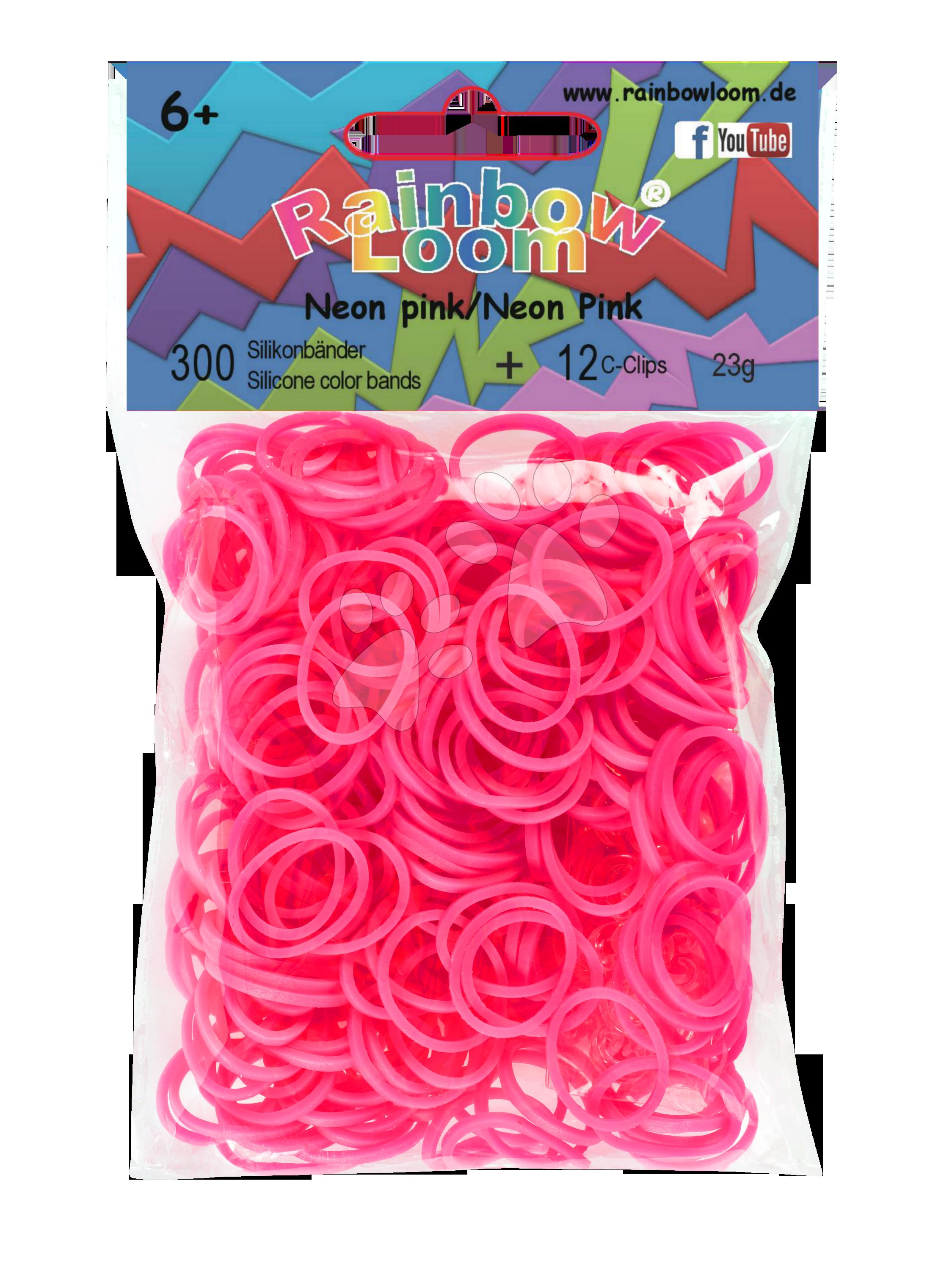 Rainbow Loom gumičky neonové - Rainbow Loom originálne gumičky 300 kusov neónovoružové od 6 rokov
