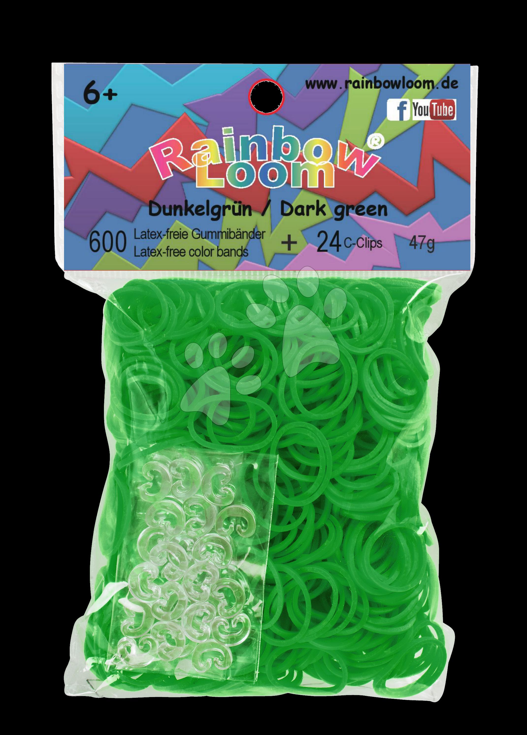 Rainbow Loom gumičky plné - Rainbow Loom originálne gumičky 600 kusov tmavozelené od 6 rokov
