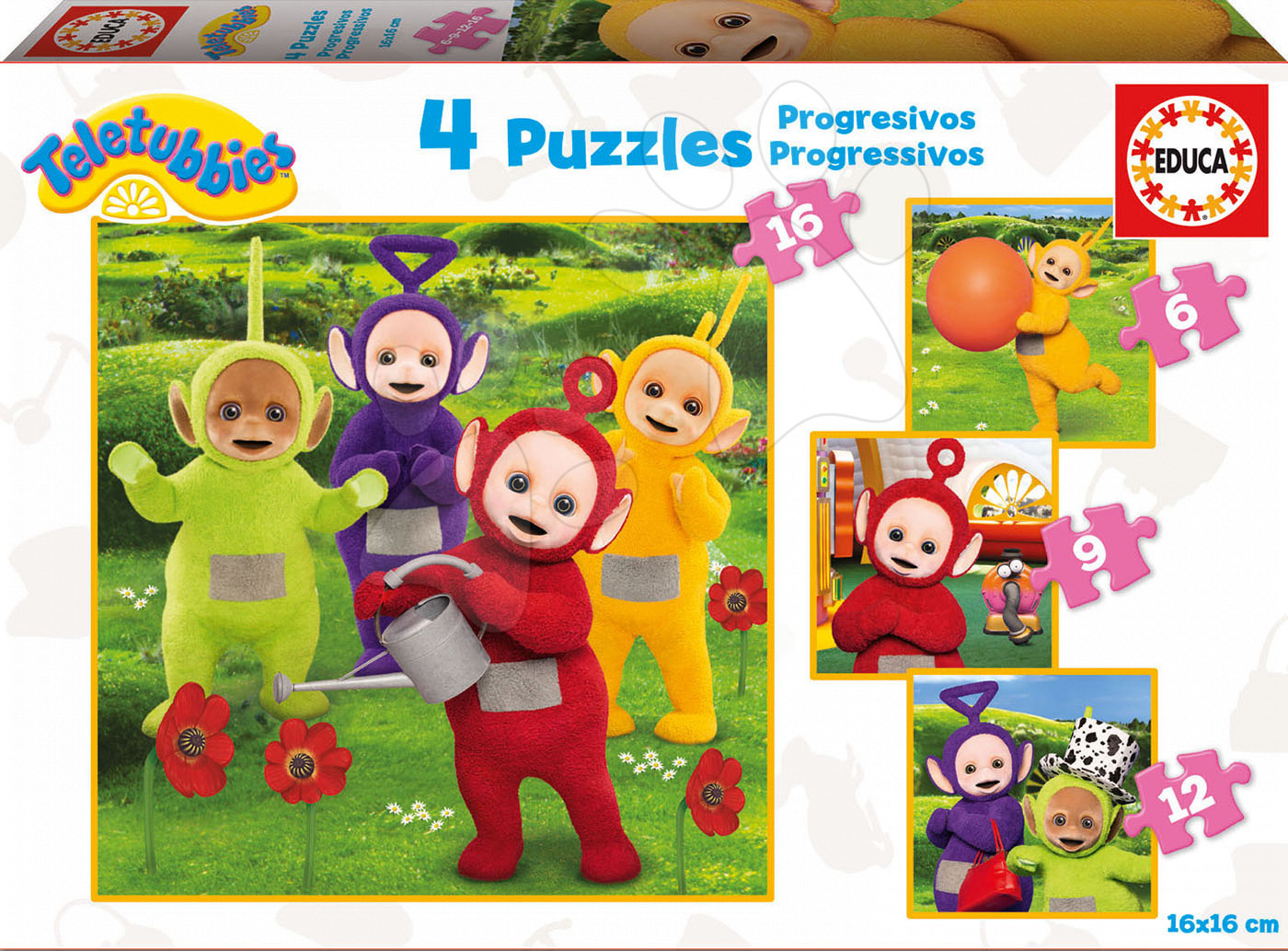 Puzzle Teletubbies 4 Educa progresivní 16-12-9-6 dílů od 24 měsíců