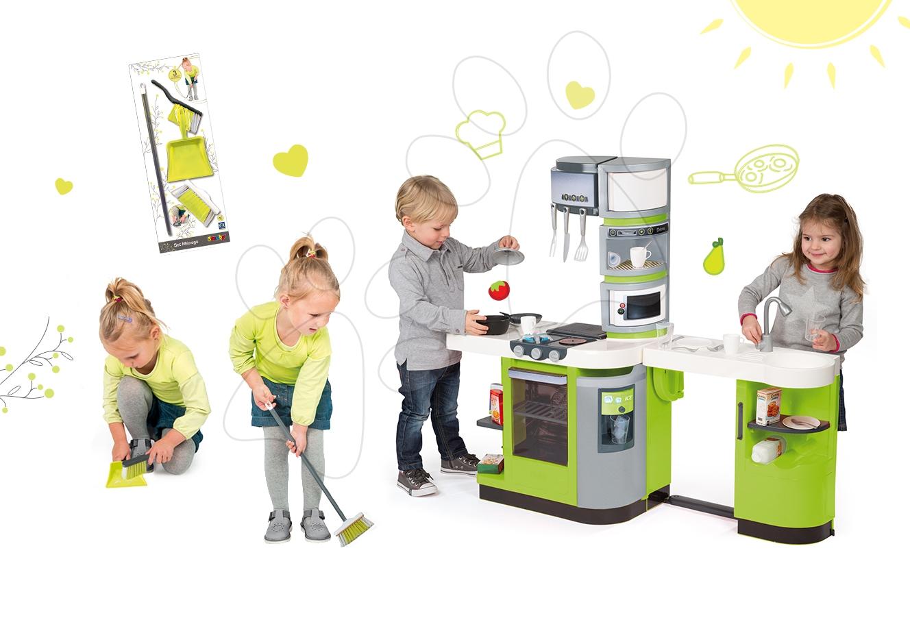 Kuchynky pre deti sety - Set kuchynka CookMaster Verte Smoby s ľadom a zvukmi a upratovacie pomôcky 3v1