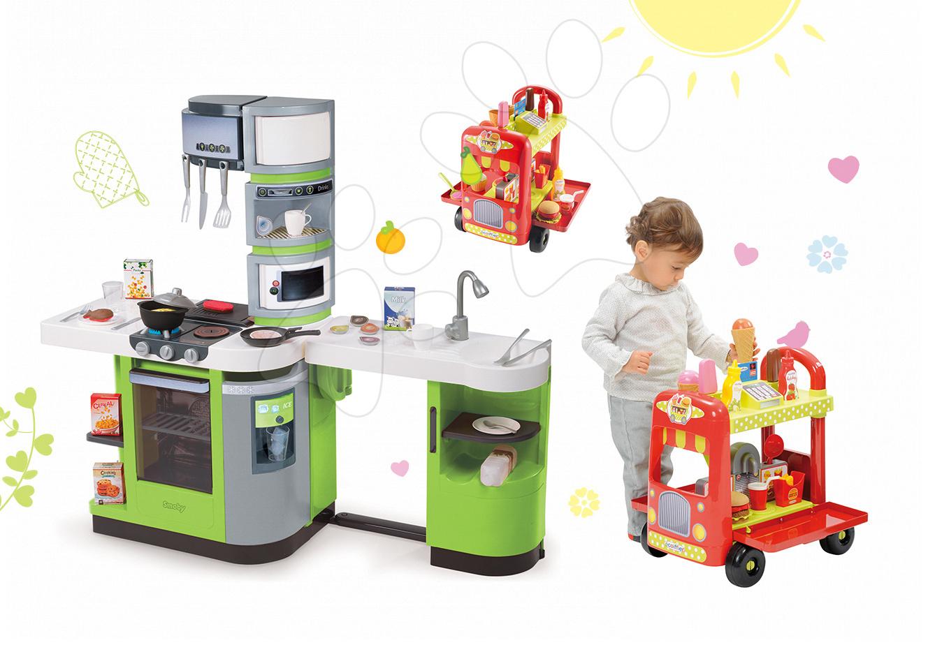 Kuchynky pre deti sety - Set kuchynka CookMaster Verte Smoby s ľadom a zvukmi a vozík so zmrzlinou a hamburgermi