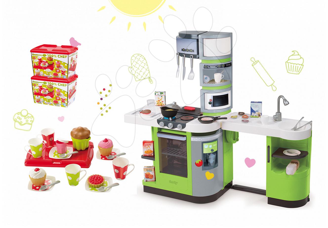 Kuchynky pre deti sety - Set kuchynka CookMaster Verte Smoby s ľadom a zvukmi a čajová súprava s táckou
