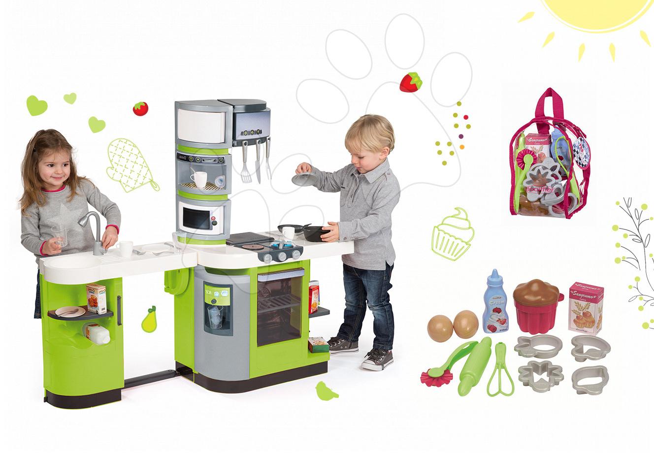 Kuchynky pre deti sety - Set kuchynka CookMaster Verte Smoby s ľadom a zvukmi a doplnky na pečenie v batohu