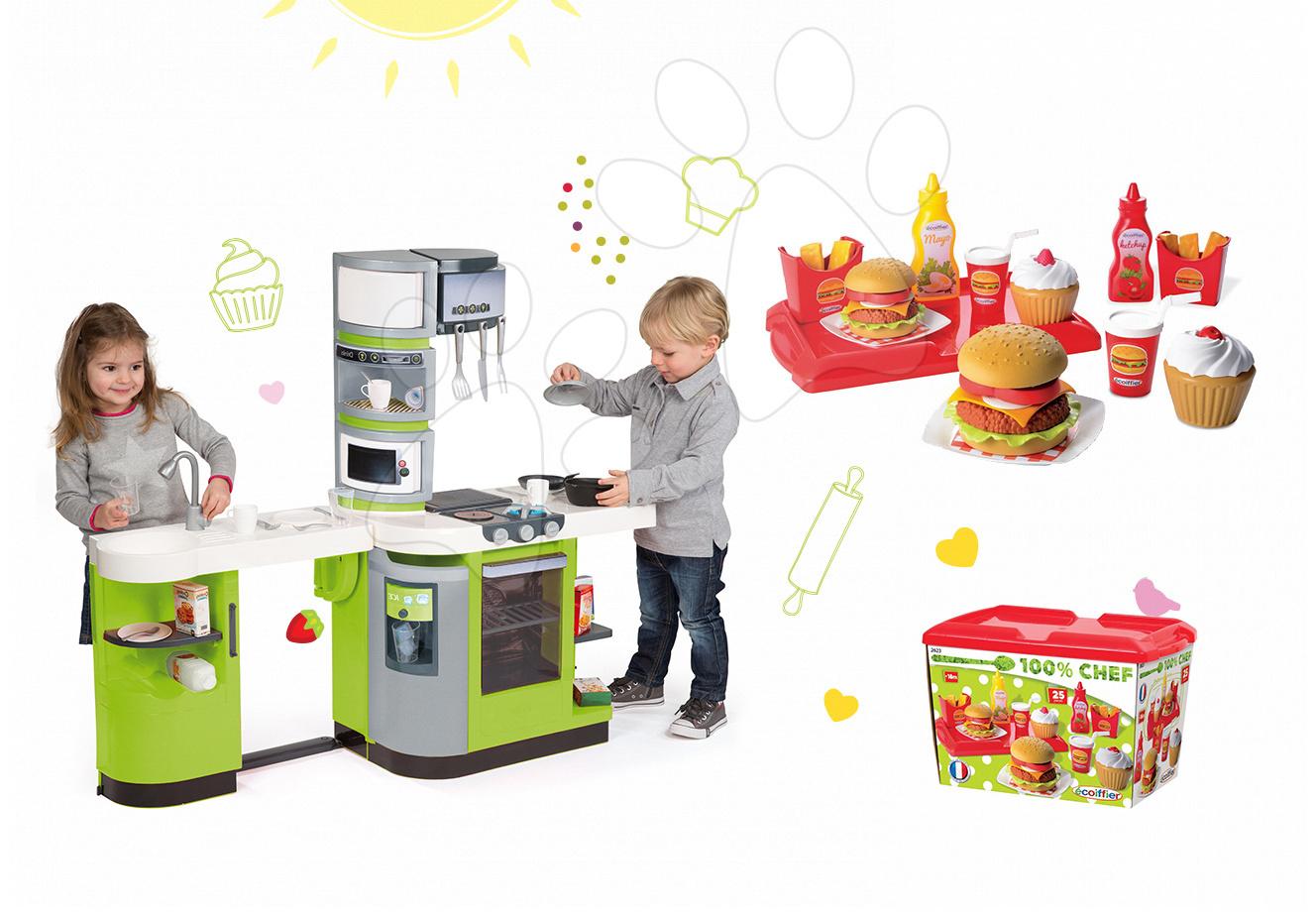 Kuchynky pre deti sety - Set kuchynka CookMaster Verte Smoby s ľadom a zvukmi a set hamburgerov 100% Chef