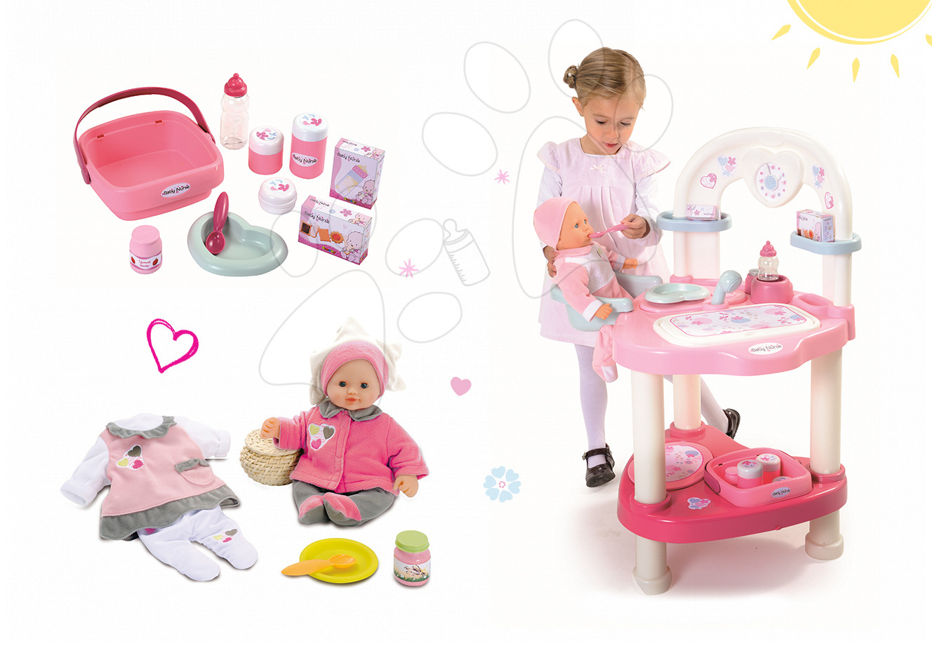 Set přebalovací stůl pro panenku Baby Nurse Srdíčko Smoby a panenka se šatičkami 32 cm