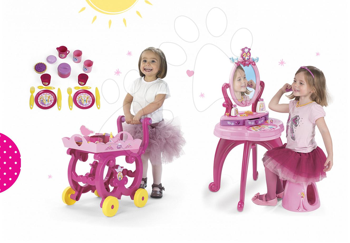 Kozmetické stolíky sety - Set kozmetický stolík Disney Princezné 2v1 Smoby so stoličkou a servírovací vozík s raňajkovou súpravou
