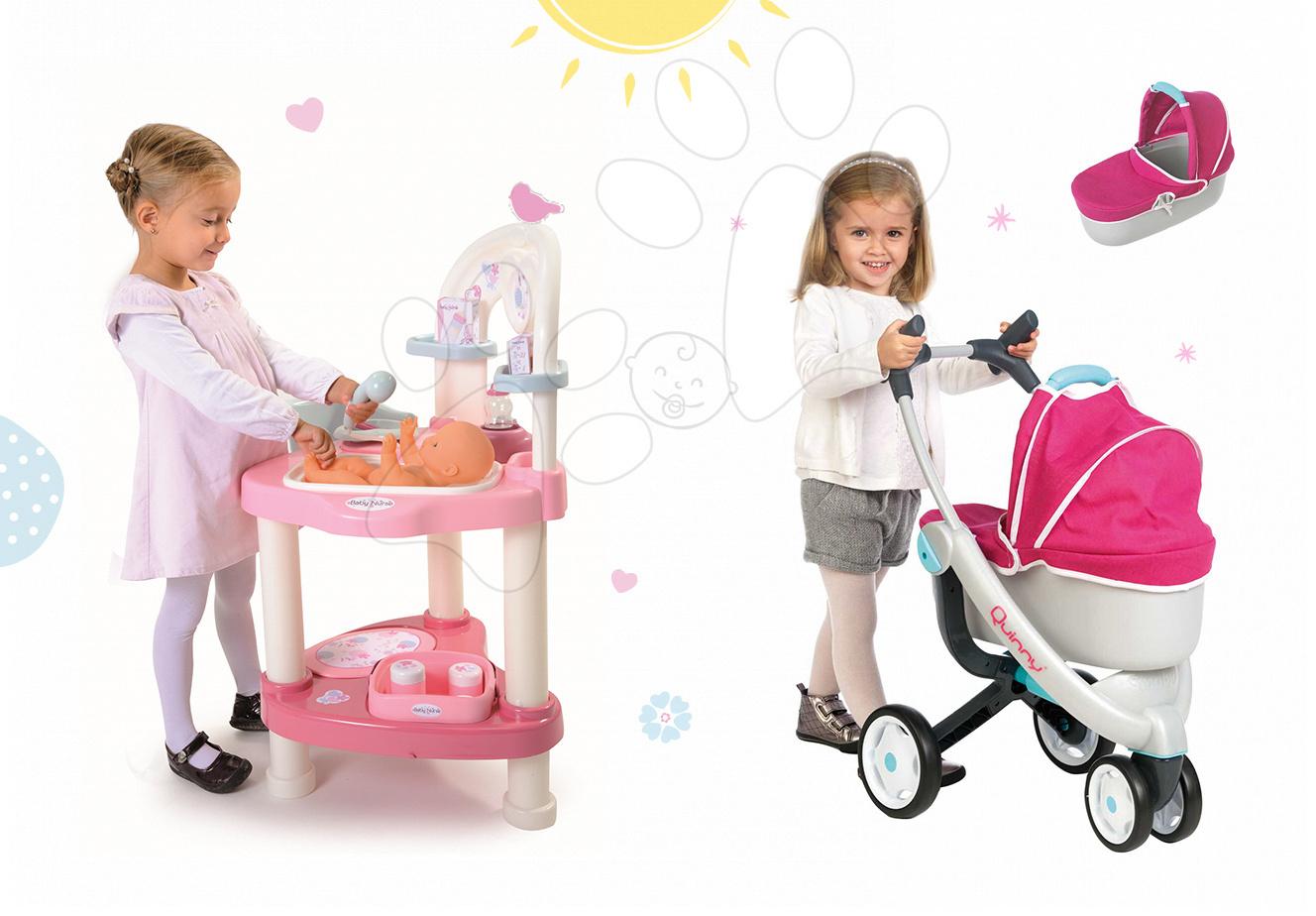 Domčeky pre bábiky sety - Set prebaľovací stôl pre bábiku Baby Nurse Srdiečko Smoby a kočík Maxi Cosi & Quinny 3v1 (70 cm rúčka)