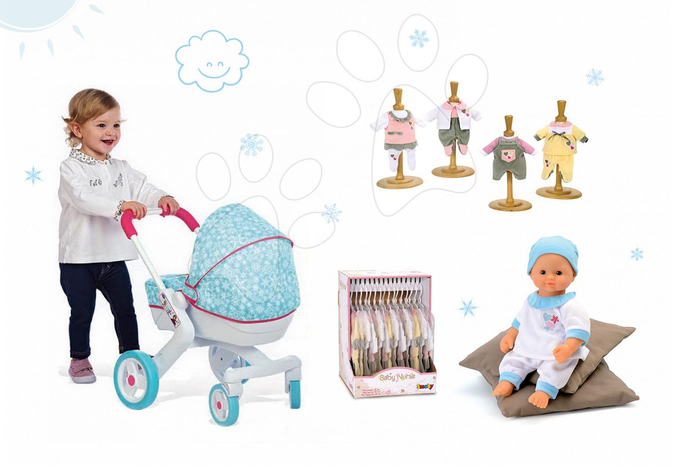 Set kočárek pro panenku Frozen Smoby hluboký, panenka Baby Nurse 32 cm a 3 šatičky od 18 měsíců