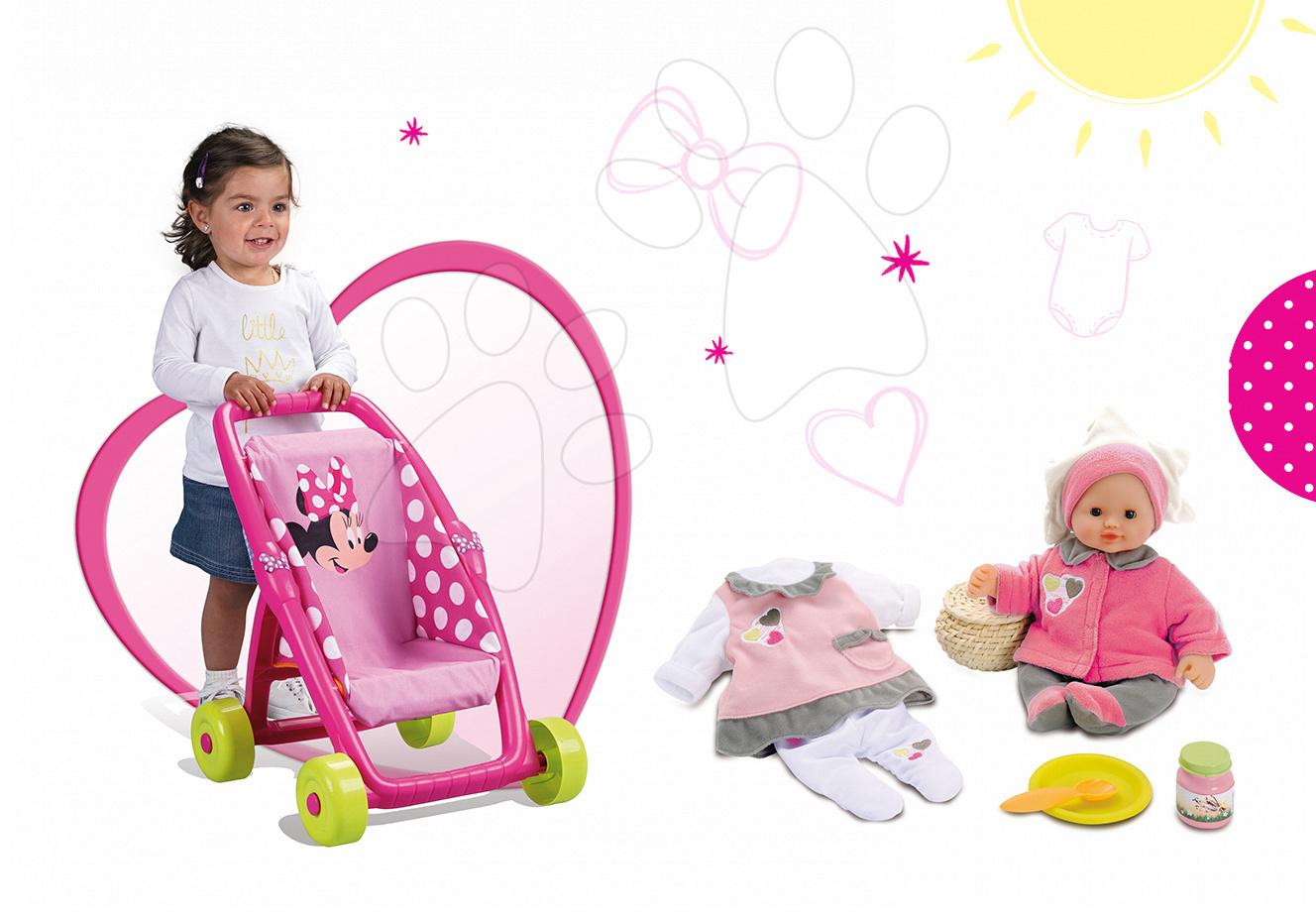 Kočíky pre bábiky sety - Set kočík pre bábiku Minnie Smoby bugina (49 cm rúčka) a bábika Baby Nurse so šatôčkami od 18 mes