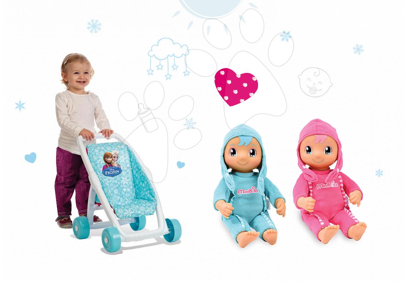 Kočíky pre bábiky sety - Set kočík pre bábiku Frozen Smoby bugina (49 cm rúčka) a bábika so zvukom MiniKiss od 18 mes