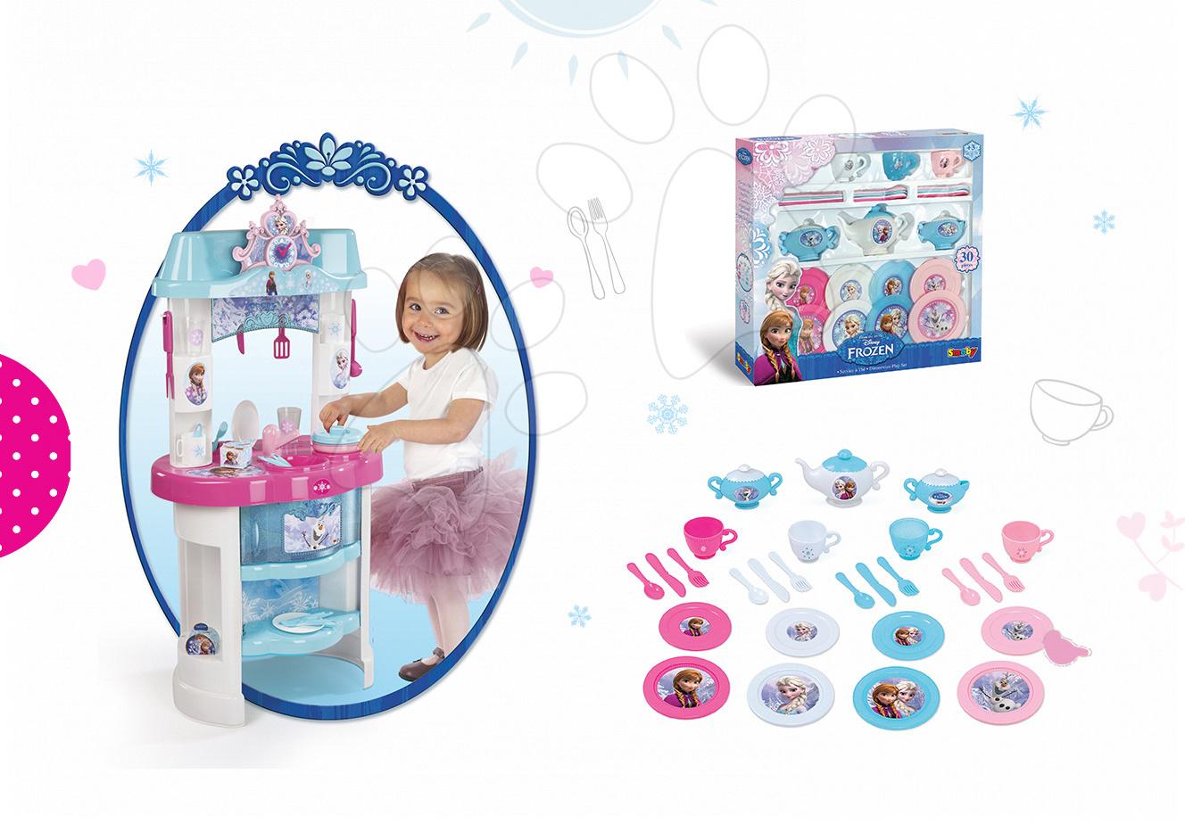 Kuchynky pre deti sety - Set kuchynka Frozen Smoby s trblietkami a veľká čajová súprava Frozen