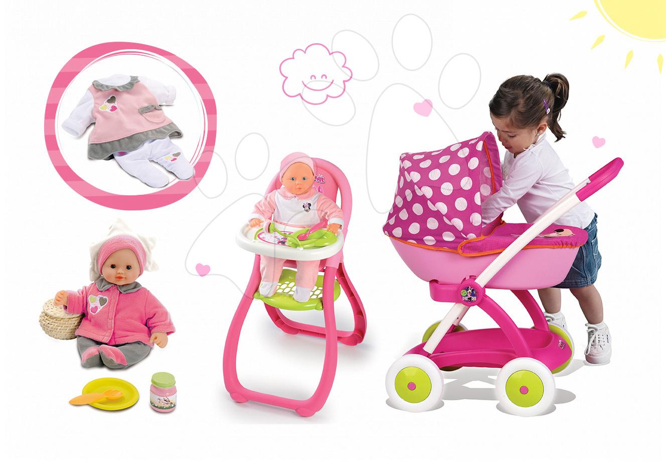 Set kočárek pro panenku Minnie Smoby hluboký, jídelní židle a panenka s šatičkami 32 cm od 18 měsíců